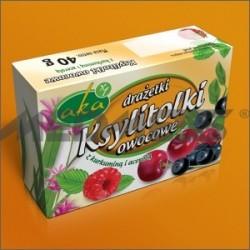 Ksylitolki owocowe - drażetki pudrowe 0% cukru o smaku owocowym 40g