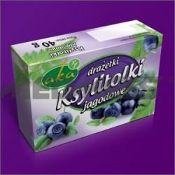 Ksylitolki jagodowe - drażetki pudrowe 0% cukru o smaku jagodowym 40g