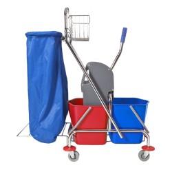 MEDISEPT Wózek dwuwiaderkowy 2 x 17 l prasa, koszyczek, uchwyt na worek